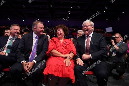 Former Australian prime minister Kevin Rudd (R) and his wife Therese Rein listen to a speech by Australian Opposition leader Bill Shorten ahead of receiving the Labor Life Membership during day three of the Labor Party National Conference in Adelaide, South Australia, Australia, 18 December 2018. Labor's 48th National Conference is being held at the Adelaide Convention Centre from 16 to 18 December 2018.