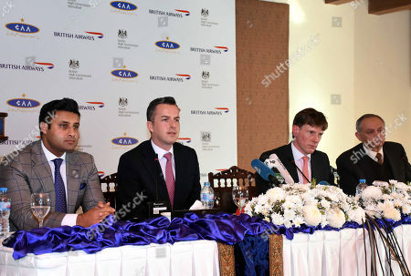 (L-R) Special Assistant to Pakistani Prime Minister for Overseas Zulfi Bukhari, Robert Williams, British Airways head of Sales for Asia Pacific and the Middle East, acting British High Commissioner Richard Crowder and Pakistani Prime Minister Imran Khan's advisor on commerce Abdul Razak Dawood talk with journalists during a press conference in Islamabad, Pakistan, 18 December 2018. British Airways on 18 December announced to resume its flights operations in Pakistan effective next summer which were suspended ten years ago due to volatile security situation.