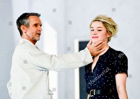Ulrich Matthes (L) and Linn Reusse perform during a rehearsal of 'Westend' by German theater and Mortitz Rinke at Deutsches Theater in Berlin, Germany, 18 December 2018. The world premiere of the play will be on 21 December.