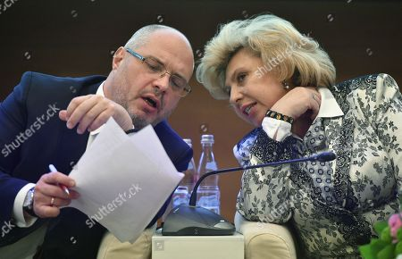 Sergey Gavrilov, Chairman of the State Duma Committee for Public Associations and Religious Organizations and Tatyana Moskalkova, Human Rights Commissioner in Russia during the hearings.