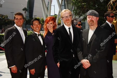 MythBusters cast: Tory Belleci, Grant Imahara, Kari Byron, with Adam Savage and Jamie Hyneman