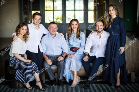Stock Image of Their Majesties King Abdullah II and Queen Rania and Their Royal Highnesses Crown Prince Al Hussein, Prince Hashem, Princess Iman and Princess Salma end of Year Family Photo