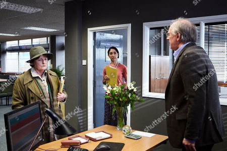 Brenda Blethyn as DCI Vera Stanhope, Seeta Indrani as Sandra Main and Peter Davison as Matthew Wells.