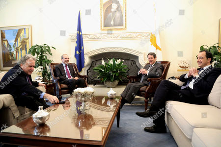 Nicos Anastasiades, Nicos Christodoulides, Ayman Safadi, Georgios Katrougalos. Cyprus' president Nicos Anastasiades, second right, and Cypriot foreign minister Nicos Christodoulides, right, talk with Foreign minister of Jordan Ayman Safadi, second left, and the Greek Alternate Minister of Foreign Affairs Georgios Katrougalos during their meeting at the presidential palace in Nicosia, Cyprus, . The ministers are meeting in the Cypriot capital to explore ways of strengthening ties on fields as varied as education and entrepreneurship