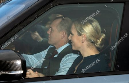 Stock Picture of Zara Philips (R) and Mark Tindall (L) arrive at the annual Christmas lunch at Buckingham Palace in London, Britain, 19 December 2018.