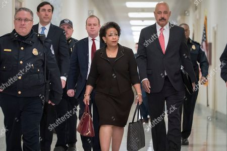 Former Attorney General Loretta Lynch arrives on Capitol Hill in Washington, to appear before the GOP-led House Judiciary and Oversight Committees in their probe of conduct by federal law enforcement officials in the investigation of President Trump's alleged Russia ties, and Hillary Clinton's emails. The panels also interviewed former FBI Director James Comey