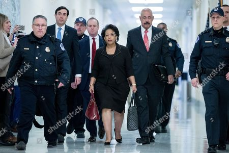 Former US Attorney General Loretta Lynch (C) arrives to testify before members of the House Judiciary and House Oversight and Government Reform Committees, on Capitol Hill in Washington, DC, USA, 19 December 2018. The two House panels are investigating the handling by federal law enforcement of probes into Hillary Clinton's emails and possible ties between Russia and the 2016 Trump presidential campaign.
