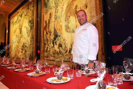 French chef Guillaume Gomez of the Elysee Palace poses during the Christmas party for the children of Elysee Palace's employees at the Gobelins Manufactory in Paris, 19 December 2018.