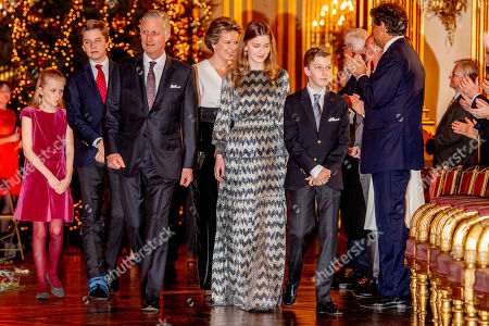 Stock Image of King Albert II, Queen Mathilde, King Philippe, Crown Princess Elisabeth, Prince Gabriel, Prince Emmanuel, Princess Eleonore, Princess Claire, Prince Aymeric, Prince Nicolas, Princess Astrid, Prince Lorenz, Princess Laetitia Maria