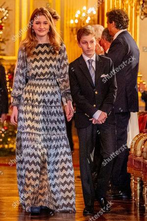 Stock Picture of King Albert II, Queen Mathilde, King Philippe, Crown Princess Elisabeth, Prince Gabriel, Prince Emmanuel, Princess Eleonore, Princess Claire, Prince Aymeric, Prince Nicolas, Princess Astrid, Prince Lorenz, Princess Laetitia Maria