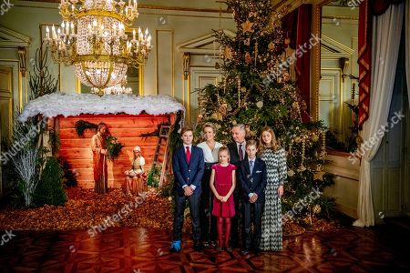 Stock Photo of King Albert II, Queen Mathilde, King Philippe, Crown Princess Elisabeth, Prince Gabriel, Prince Emmanuel, Princess Eleonore, Princess Claire, Prince Aymeric, Prince Nicolas, Princess Astrid, Prince Lorenz, Princess Laetitia Maria