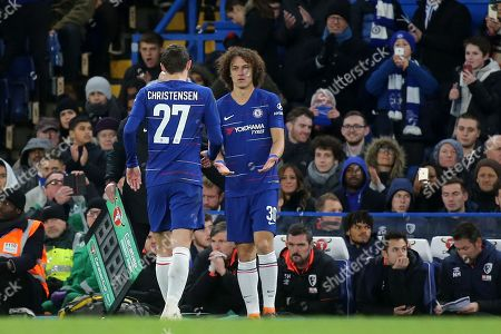 David Luiz of Chelsea replaces Andreas Christensen who was suffering with an injury during Chelsea vs AFC Bournemouth, Caraboa Cup Football at Stamford Bridge on 19th December 2018