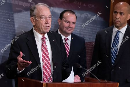 Senator Chuck Grassley, Chairman of the Senate Judiciary Committee, Republican of Iowa, speaks to reporters during a news conference celebrating the passage of the First Step Act at the United States Capitol in Washington, DC.