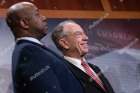 Senator Chuck Grassley, Chairman of the Senate Judiciary Committee, Republican of Iowa, smiles during a news conference celebrating the passage of the First Step Act at the United States Capitol in Washington, DC.
