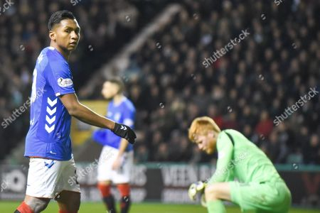 Alfredo Morelos' shot is saved by keeper Adam Bogdan during the Ladbrokes Scottish Premiership match between Hibernian and Rangers at Easter Road, Edinburgh