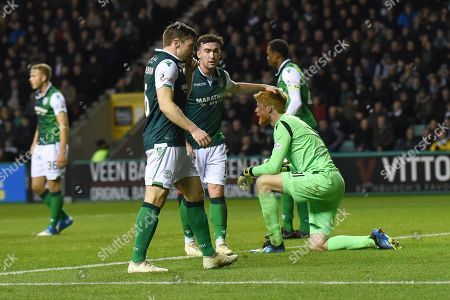 Substitute keeper Adam Bogdan gets a pat on the head for one of many vital saves he made during the Ladbrokes Scottish Premiership match between Hibernian and Rangers at Easter Road, Edinburgh