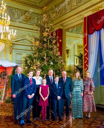 King Philippe, Queen Mathilde, Princess Elisabeth, Prince Gabriel, Prince Emmanuel, Princess Eleonore, King Albert II, Prince Lorenz and Princess Astrid of Belgium during the annual Christmas Concert