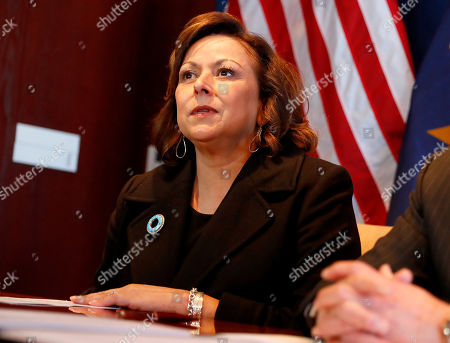 New Mexico Gov. Susana Martinez, speaks after signing an agreement to a cross-border plan to provide natural gas to Asia., at the Capitol in Phoenix