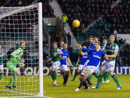 Gareth McAuley of Rangers misses a chance to score.