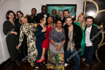 Amy Ball (Casting Director), Leanne Best (Jessie), Martha Plimpton (Tracey), Osy Ikhile (Chris), Lynette Linton (Director), Sule Rimi (Evan), Clare Perkins (Cynthia), Wil Johnson (Brucie), Lynn Nottage (Author), Patrick Gibson (Jason), Stuart McQuarrie (Stan), Sebastian Viveros (Oscar), Polly Bennett (Movement Director) and Tom Bellerby (Assistant Director)