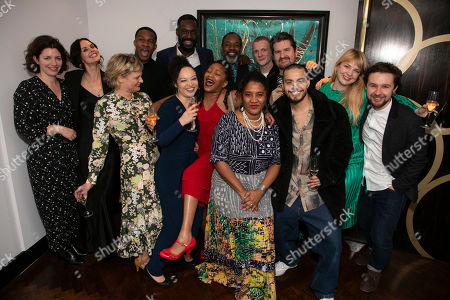 Stock Picture of Amy Ball (Casting Director), Leanne Best (Jessie), Martha Plimpton (Tracey), Osy Ikhile (Chris), Lynette Linton (Director), Sule Rimi (Evan), Clare Perkins (Cynthia), Wil Johnson (Brucie), Lynn Nottage (Author), Patrick Gibson (Jason), Stuart McQuarrie (Stan), Sebastian Viveros (Oscar), Polly Bennett (Movement Director) and Tom Bellerby (Assistant Director)