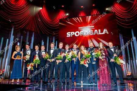 Stock Image of Grouppicture of the winners Rico Verhoeven, Bibian Mentel, Kjeld Nuis, Suzanne Schulting and Jac Orie
