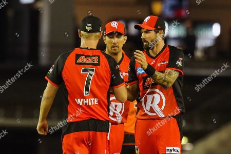 Kane Richardson of Melbourne Renegades celebrates a wicket with Cameron White of Melbourne Renegades and Tom Cooper of Melbourne Renegades during the Big Bash match between Melbourne Renegades vs Perth Scorchers at Marvel Stadium, Melbourne