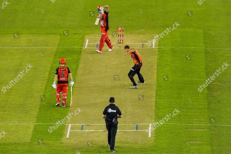 Jason Behrendorff of Perth Scorchers bowls Cameron White of Melbourne Renegades during the Big Bash match between Melbourne Renegades vs Perth Scorchers at Marvel Stadium, Melbourne