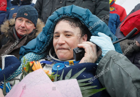 International Space Station (ISS) crew member astronaut Serena Aunon-Chancellor of the US speaks on a satellite phone shortly after the Soyuz MS-09 capsule landing in a remote area outside the town of Zhezkazgan (Dzhezkazgan or Jezkazgan), Kazakhstan, 20 December 2018. The Soyuz MS-09 capsule with astronauts Alexander Gerst of Germany and Serena Aunon-Chancellor of the USA, and cosmonaut Sergey Prokopyev of Russia safely returned to Earth in the Kazakh steppe on 20 December 2018 after 197 days in space where they served as members of the Expedition 56 and 57 crews onboard the International Space Station (ISS).