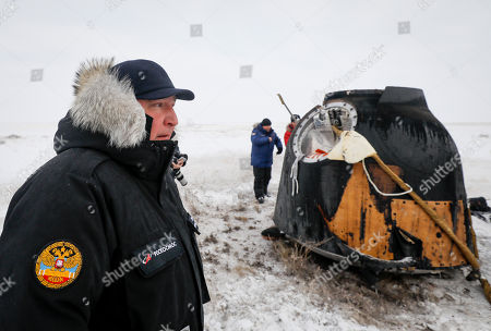Dmitry Rogozin, head of the Russian space agency Roscosmos, looks on the site of landing of the Soyuz MS-09 capsule carrying the International Space Station (ISS) crew of astronauts Serena Aunon-Chancellor of the US and Alexander Gerst of Germany and cosmonaut Sergey Prokopyev of Russia in a remote area outside the town of Zhezkazgan (Dzhezkazgan or Jezkazgan), Kazakhstan, 20 December 2018. The Soyuz MS-09 capsule with astronauts Alexander Gerst of Germany and Serena Aunon-Chancellor of the USA, and cosmonaut Sergey Prokopyev of Russia safely returned to Earth in the Kazakh steppe on 20 December 2018 after 197 days in space where they served as members of the Expedition 56 and 57 crews onboard the International Space Station (ISS).