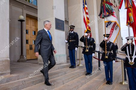 US Secretary of Defense Jim Mattis arrives to greet US Vice President Mike Pence at the Pentagon in Arlington, Virginia, USA, 19 December 2018. US President Donald J. Trump announced the withdrawal of US troops from Syria.
