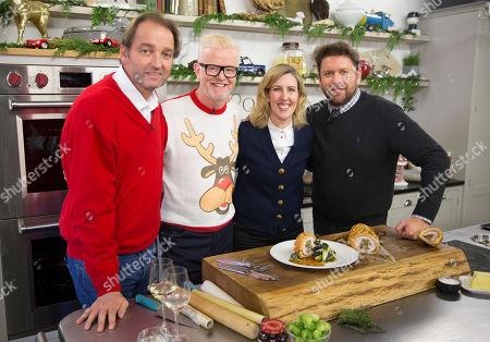 (L-R) Chef Galton Blackiston, broadcaster Chris Evans, chef Clare Smyth and James Martin.