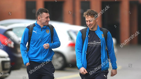 Nathan Thomas and Kristian Dennis are all smiles as they arrive at Meadow Lane