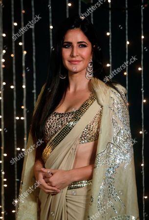 Bollywood actress Katrina Kaif poses for photographs at Priyanka Chopra and musician Nick Jonas wedding reception in Mumbai, India