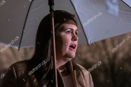 White House Press Secretary Sarah Huckabee Sanders speaks to the press outside the West Wing of the White House in Washington, DC, USA, 20 December 2018. Sanders' comments, on behalf of US President Donald J. Trump, come on the eve of a looming partial government shutdown and the resignation of US Secretary of Defense Jim Mattis.