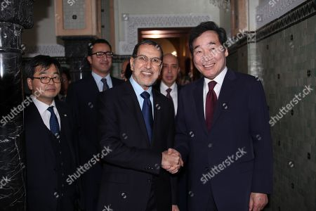 South Korean Prime Minister Lee Nak-yon (R) and Prime Minister of Morocco Saad Eddine El Othmani (C) shake hands during their meeting in Rabat, Morocco, 20 December 2018 (issued 21 December 2018).
