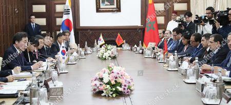 South Korean Prime Minister Lee Nak-yon (L) and Prime Minister of Morocco Saad Eddine El Othmani (2-R) speak during their meeting in Rabat, Morocco, 20 December 2018 (issued 21 December 2018).