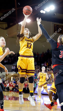 Central Michigan's Reyna Frost (13) shoots against Louisville's Sam Fuehring during the fourth quarter of an NCAA college basketball game, in Mount Pleasant, Mich. Louisville won 72-68