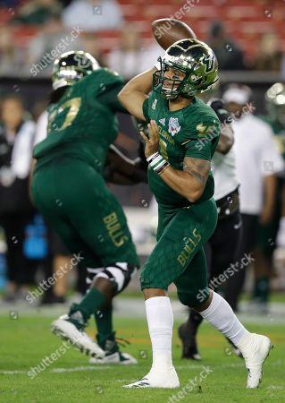 a71a009b2 Stock Image of South Florida quarterback Chris Oladokun (10) throws a pass  against Marshall ...