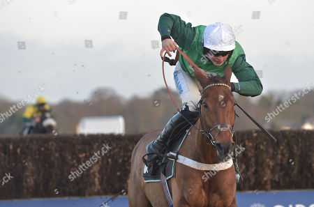 Valtor (James Bowen) takes the last before going on to win The Garrard Silver Cup Handicap Steeple Chase.