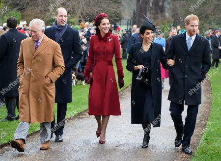 Stock Picture of Prince Charles, Prince William, Catherine Duchess of Cambridge, Meghan Duchess of Sussex and Prince Harry