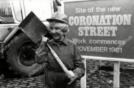 Coronation Street Actress Doris Speed, in publicity shoot, lays down foundations for new Granada TV series 'Coronation Street' set