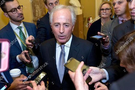 Senate Foreign Relations Committee Chairman Bob Corker, R-Tenn., speaks to reporters as the Senate takes up a House-passed bill that would pay for President Donald Trump's border wall and avert a partial government shutdown, at the Capitol in Washington