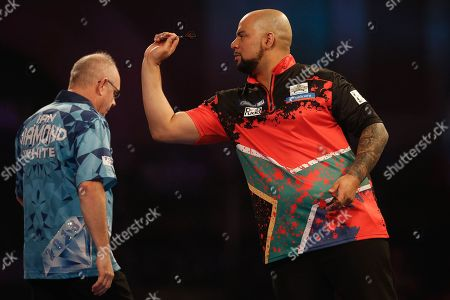Devon Peterson and Ian White during the World Darts Championships 2018 at Alexandra Palace, London