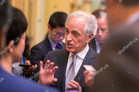 Republican Senator from Tennessee Bob Corker speaks outside the Senate chambers at the US Capitol in Washington, DC, USA, 21 December 2018. Congress and the President are attempting to avoid a partial government shutdown at midnight.