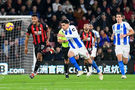 Joshua King of AFC Bournemouth left vies for the ball with Leon Balogun of Brighton and Hove Albion during AFC Bournemouth vs Brighton & Hove Albion, Premier League Football at the Vitality Stadium on 22nd December 2018
