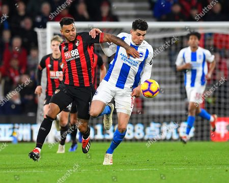 Joshua King of AFC Bournemouth and Leon Balogun of Brighton and Hove Albion vie for the ball during AFC Bournemouth vs Brighton & Hove Albion, Premier League Football at the Vitality Stadium on 22nd December 2018