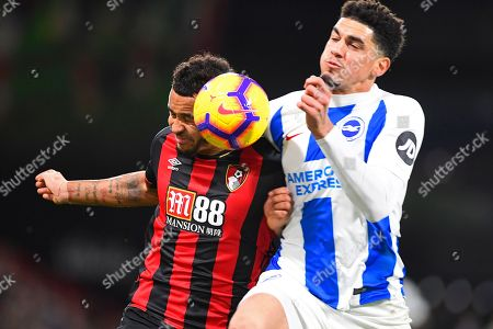 Joshua King of AFC Bournemouth left is challenged by Leon Balogun of Brighton and Hove Albion during AFC Bournemouth vs Brighton & Hove Albion, Premier League Football at the Vitality Stadium on 22nd December 2018