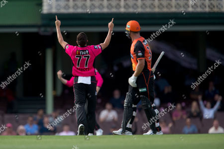 Sydney Sixers player Sean Abbott celebrates the wicket of Perth Scorchers player Ashton Turner at the Big Bash League cricket match between Sydney Sixers and Perth Scorchers at The Sydney Cricket Ground in Sydney, Australia