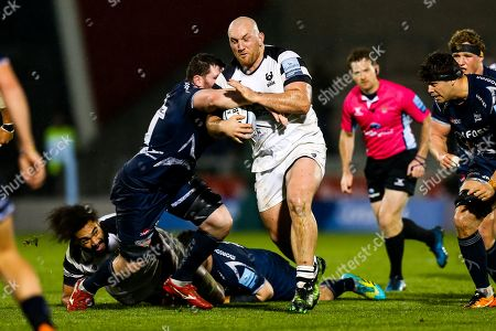 Yann Thomas of Bristol Bears is tackled by James Phillips of Sale Sharks